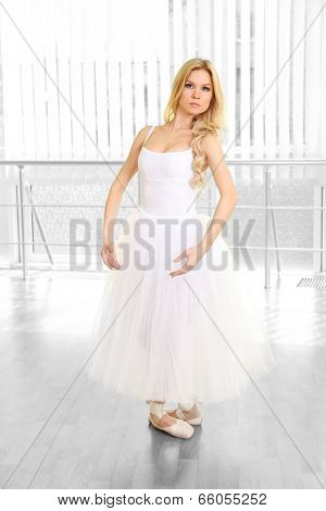 Beautiful balerina dancing in ballet class