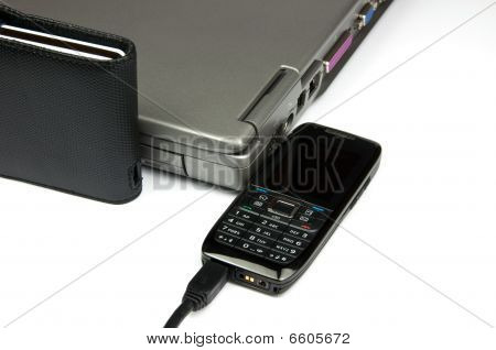 Laptop With External Hard Drive And Phone