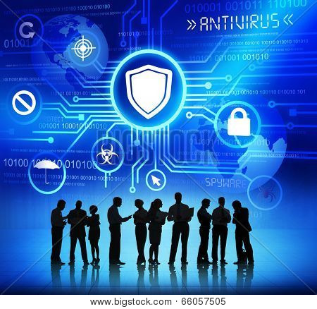 Business People Working and Antivirus Concepts