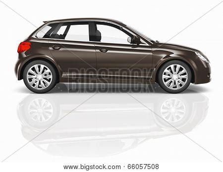 Brown 3D Hatchback Car Illustration