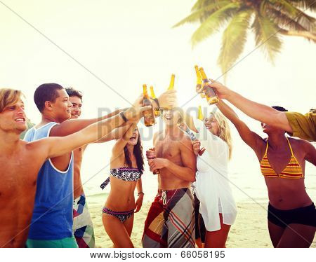 Diverse Multiethnic People Partying and Toasting Glasses