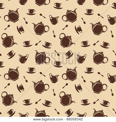 Seamless background with teapots and cups. Vector illustration.