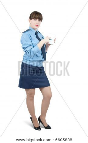 Woman In Uniform Is Pointing At Blank