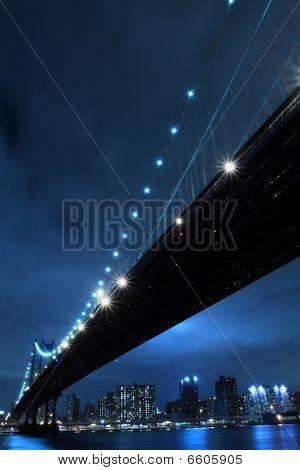 New York Skyline and Manhattan Bridge At Night
