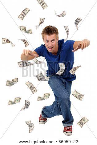 Happy man enjoying rain of money, isolated on white