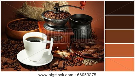 Cup of coffee, grinder, turk and coffee beans on brown background. Color palette with complimentary swatches
