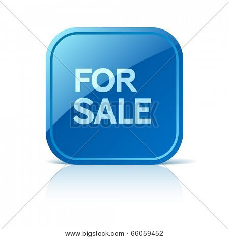 For sale. Blue square web button