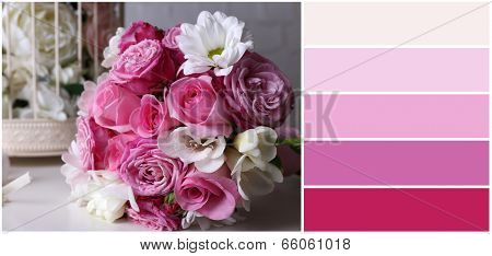 Wedding still life with bouquet . Color palette with complimentary swatches