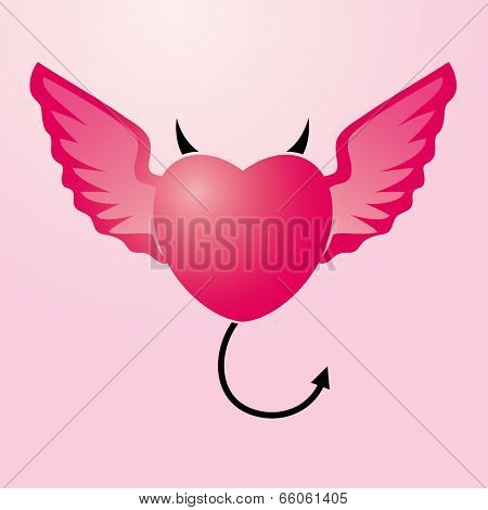 Vector Illustration of heart with angel's wings and devil's horns and tail