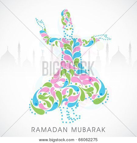 Colorful floral design decorated illustration of a religious muslim young man remembering the name of Almighty Allah on mosque silhouette grey background.