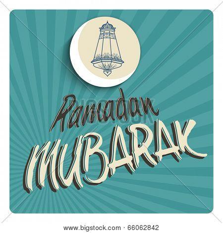 Vintage greeting card design with illustration of arabic lantern, crescent moon and stylish text Ramadan Mubarak on blue rays battleground.