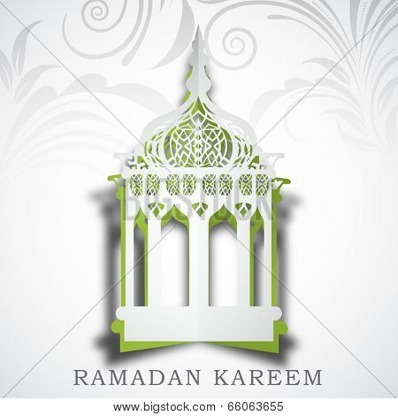 Intricate arabic lantern on floral design decorated grey background for holy month of muslim community Ramadan Kareem.