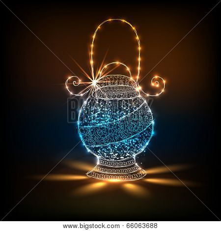 Illuminated colorful arabic lantern on shiny brown background for holy month of muslim community Ramadan Kareem.