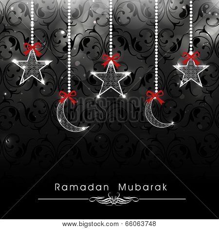Beautiful greeting card design with hanging stars and moon on black background for holy month of muslim community Ramadan Kareem.