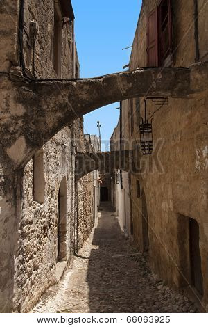 Medieval Street Of Knight. Greece. Rhodos Island. Old Town. Street Of The Knights Photo (now Embassy