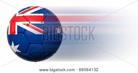 Soccer ball with Australian flag in motion isolated