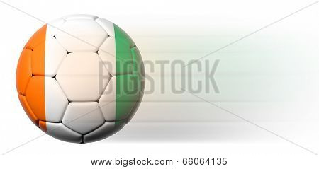 Soccer ball with Ivorian flag in motion isolated