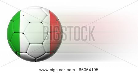 Soccer ball with Italian flag in motion isolated