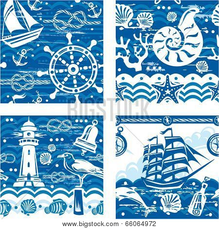 Patterns with Nautical and sea symbols