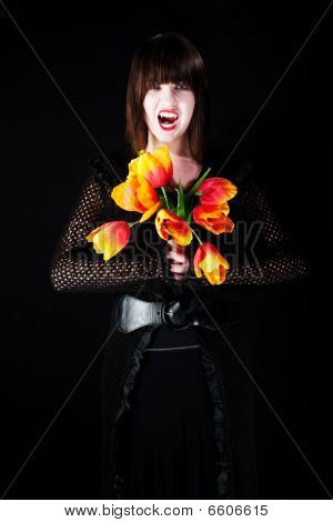 Vampire With Plastic Flowers