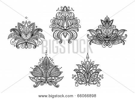 Turkish, indian and persian paisley floral motifs