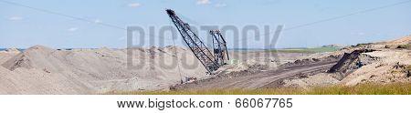 Coalmine Excavator Moonscape Tailings Panorama