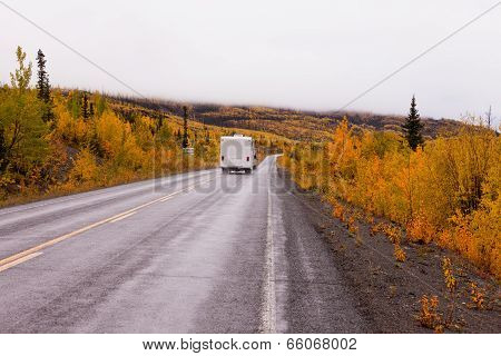 Campervan Driving Autumn Fall Highway Yukon Canada