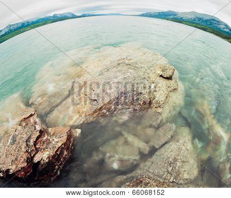 Water Landscape Tagish Lake Yukon Territory Canada