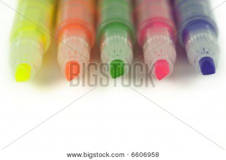 Close Up Of Highlighters Isolated On White