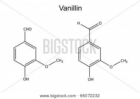 Chemical Formula Of Vanillin Molecule (flavor Enhancer)