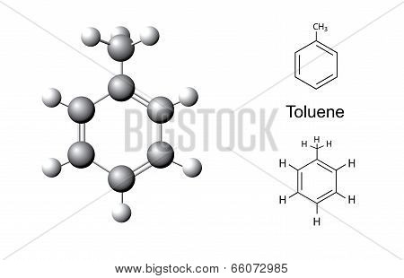 Structural Formulas And Chemical Model Of Toluene Molecule