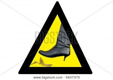 Warning sign -  Boot And Banana - isolated