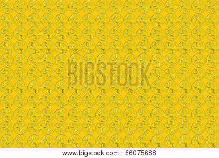 yellow background with round ornaments.