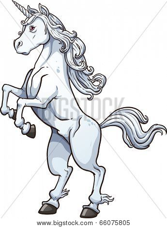 White unicorn. Vector clip art illustration with simple gradients. All in a single layer.
