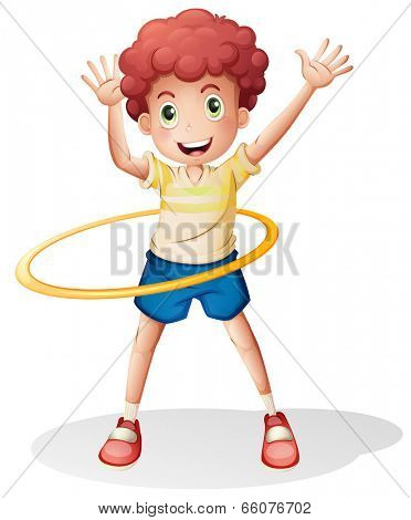 Illustration of a young boy playing with the hulahoop on a white background