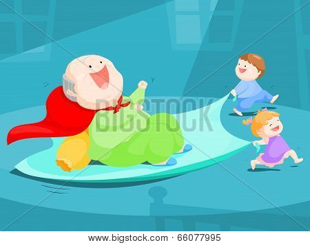 grandpa play slider by bed sheet with his nephews