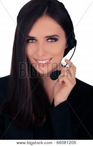 Call Center Operator in Black Blazer
