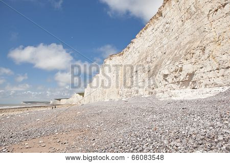 Seven Sisters National Park, view of the cliffs and the beach, East Sussex, England