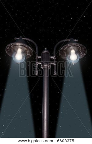 Irish Lamppost Street Light Cutout On Night Sky