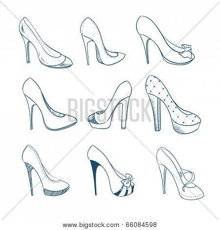 Set of nine shoes. Sketch style. Vector illustration