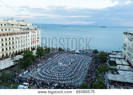 Rueda De Casino Flash Mob, Particular Type Of Salsa Held In Thessaloniki In Order To Break The Guinn