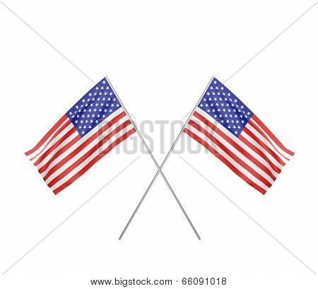 Two Crossed  Flag Of Usa