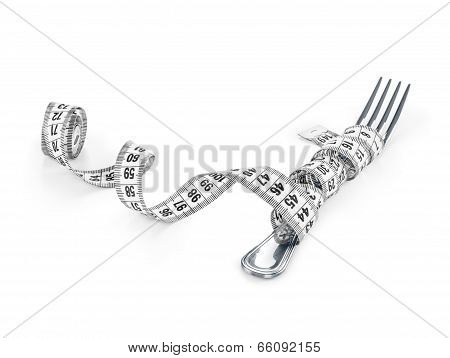 Diet Concept, Fork And Measuring Tape Isolated
