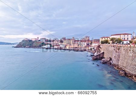 Mediterranean sea with cloudy sky seen from Piazza Bovio in Piombino - Tuscany