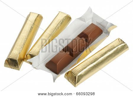 Chocolate In Foil, Isolated