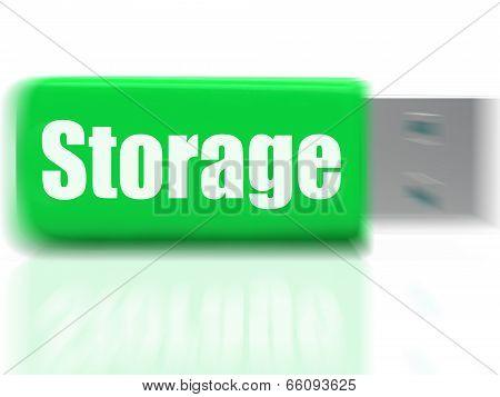 Storage Usb Drive Shows Data Backup Or Warehousing