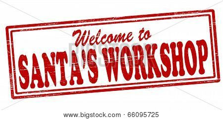 Stamp with text Santa workshop inside vector illustration
