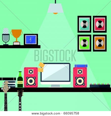 Musician Studio Workstation Flat Design
