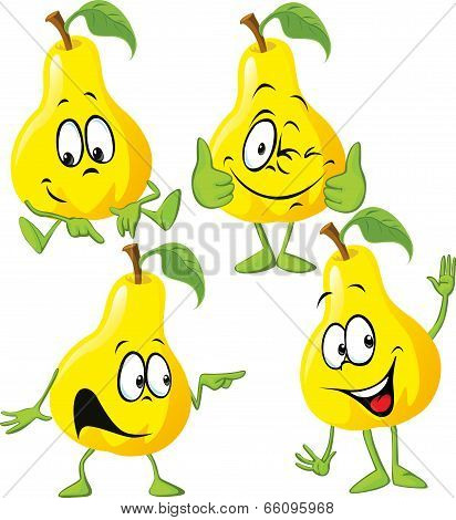 Pear Cartoon With Hand Isolated On White Background