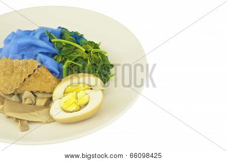 Close Up Blue Rice Noodle Gravy Vegetarian Isolated